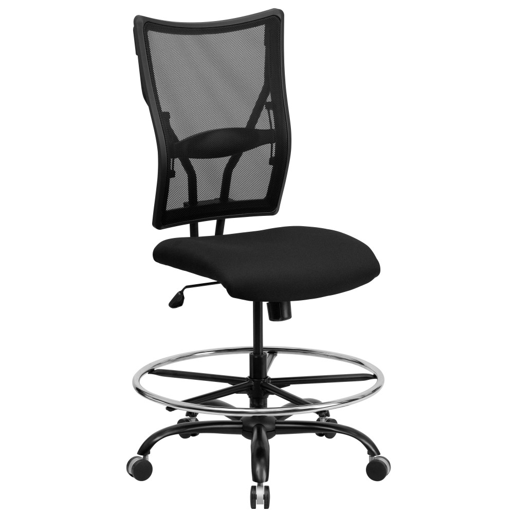 HERCULES Series 400 lb. Capacity Big & Tall Black Mesh Drafting Stool