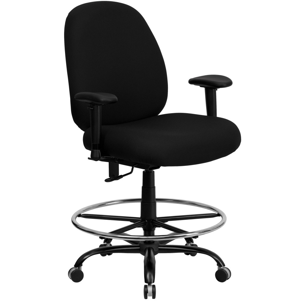 HERCULES Series 400 lb. Capacity Big and Tall Black Fabric Drafting Stool with Arms and Extra WIDE Seat