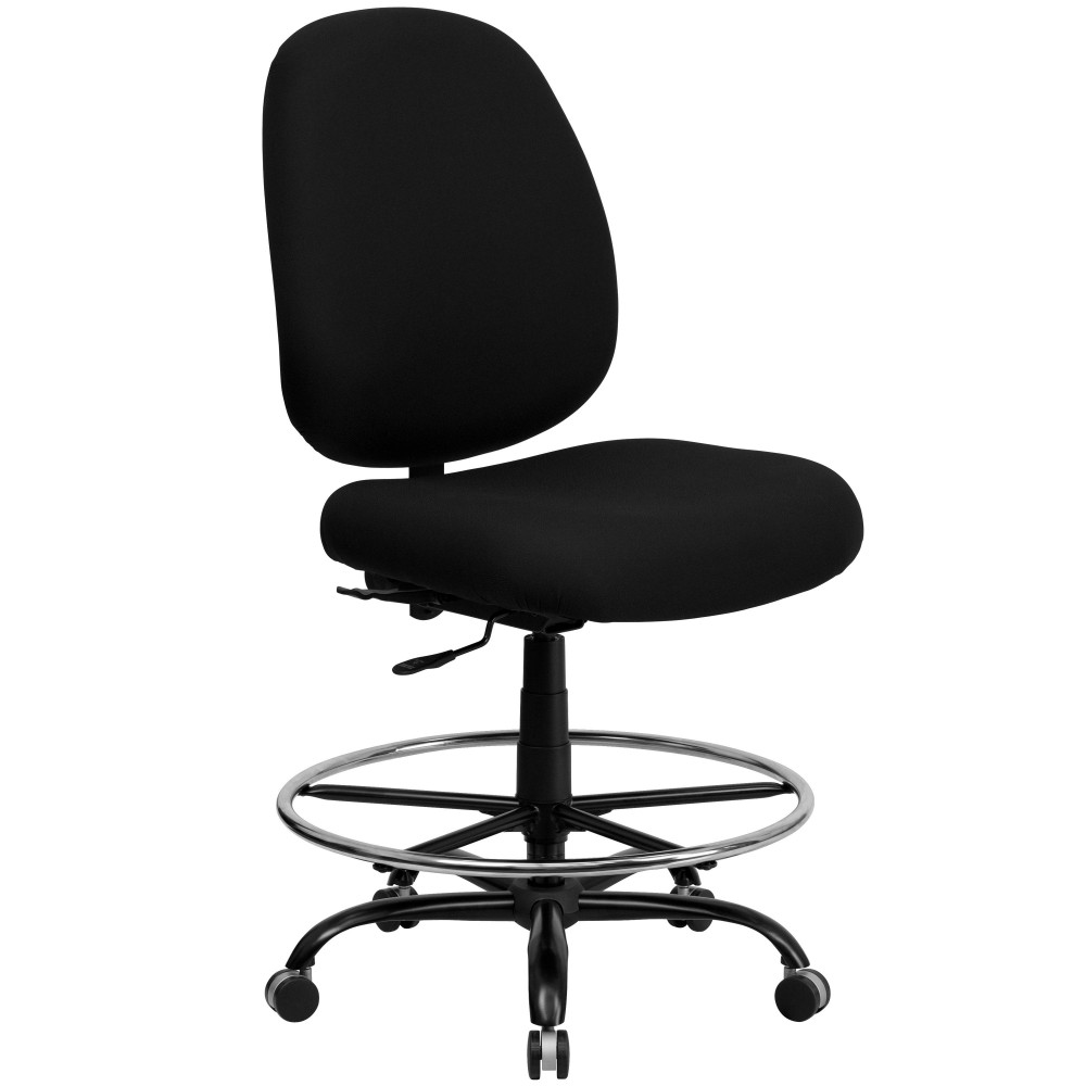 capacity big and tall black fabric drafting stool with extra wide seat