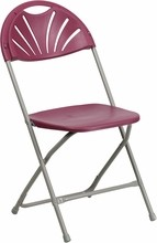 HERCULES Series 440 lb. Capacity Burgundy Plastic Fan Back Folding Chair