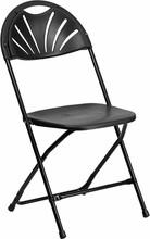 HERCULES Series 440 lb. Capacity Black Plastic Fan Back Folding Chair