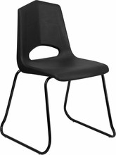 HERCULES Series 500 lb. Capacity Black Plastic Sled Base Stack Chair with Black Frame