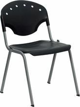 HERCULES Series 550 lb. Capacity Black Polypropylene Stack Chair with Titanium Frame Finish