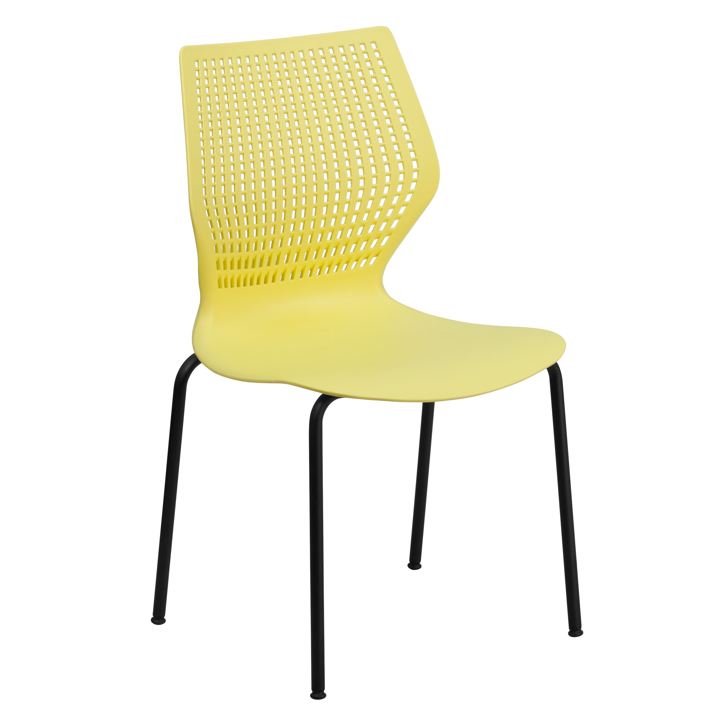 HERCULES Series 770 lb. Capacity Designer Yellow Stack Chair with Black Frame