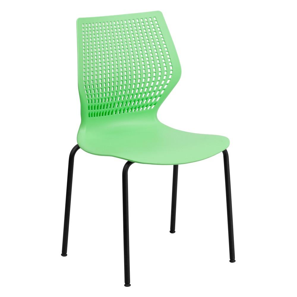 HERCULES Series 770 lb. Capacity Designer Green Stack Chair with Black Frame