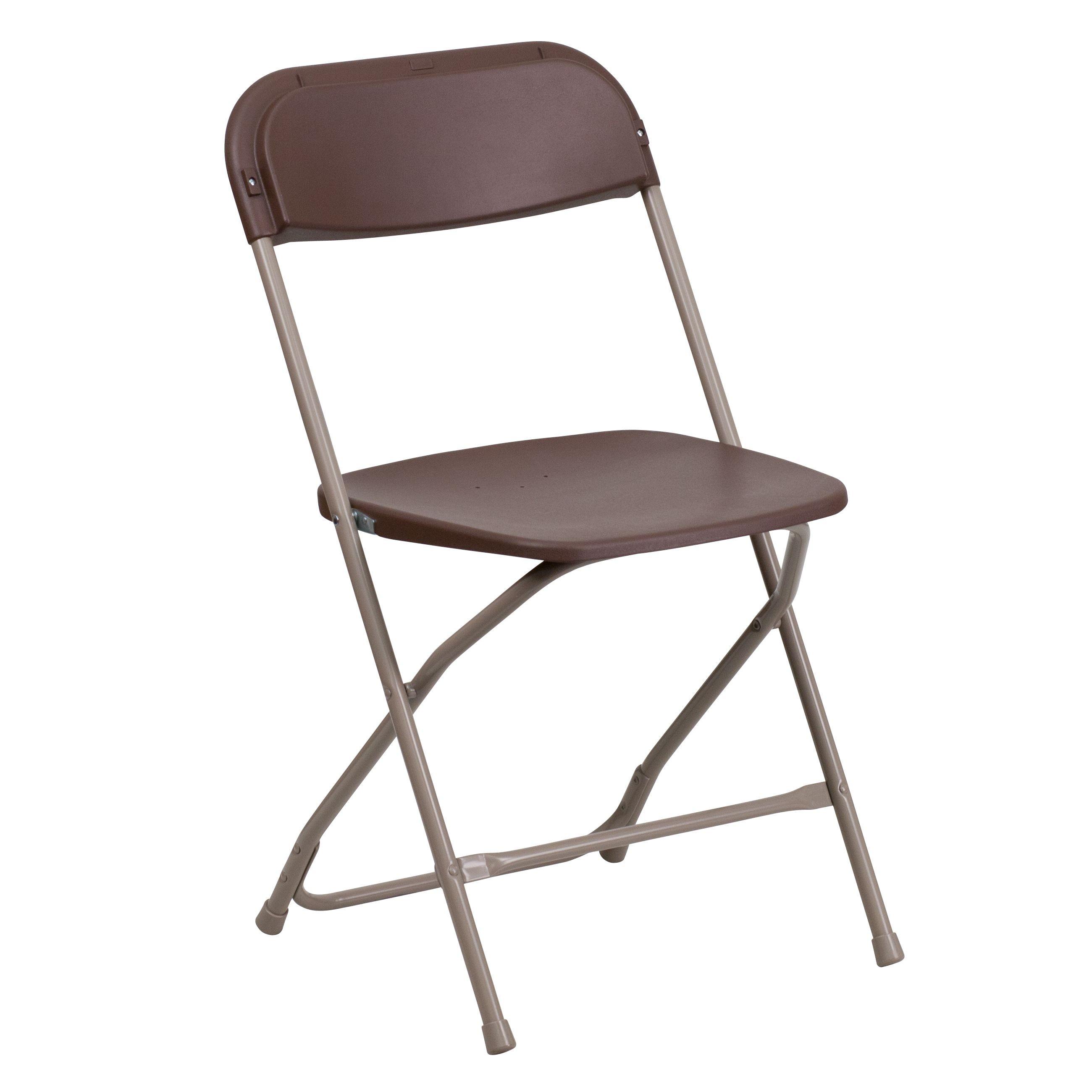 Flash Furniture LE-L-3-BROWN-GG HERCULES Series 800 Lb. Capacity Premium Brown Plastic Folding Chair