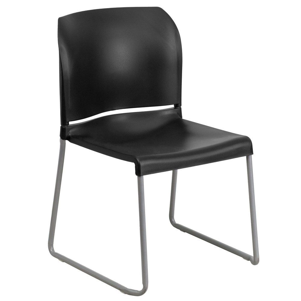 HERCULES Series 880 lb. Capacity Black Full Back Contoured Stack Chair with Sled Base