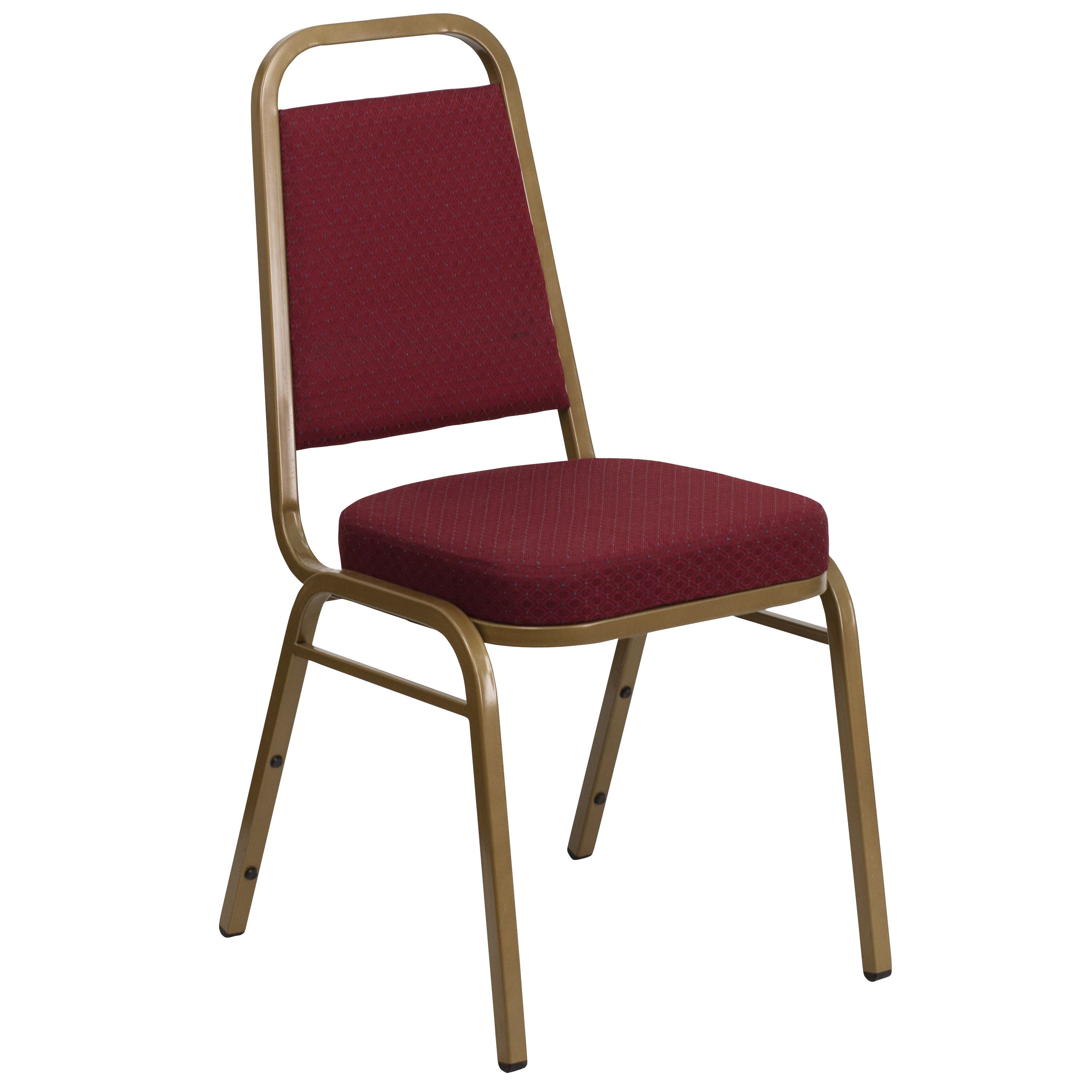 Flash Furniture FD-BHF-1-ALLGOLD-0847-BY-GG HERCULES Series Burgundy Pattern Fabric Stacking Banquet Chair with Gold Frame
