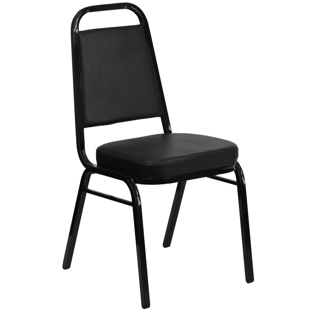 Flash Furniture FD-BHF-1-GG HERCULES Series Trapezoidal Back Stacking Banquet Chair with Black Vinyl/Gold Frame