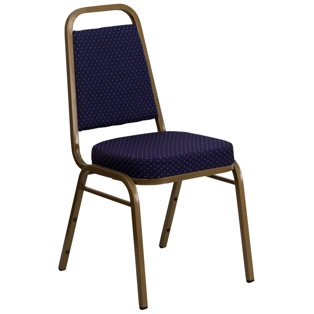 Flash Furniture FD-BHF-1-ALLGOLD-0849-NVY-GG HERCULES Series Banquet Stack Chair with Navy Patterned Fabric Seat and Back