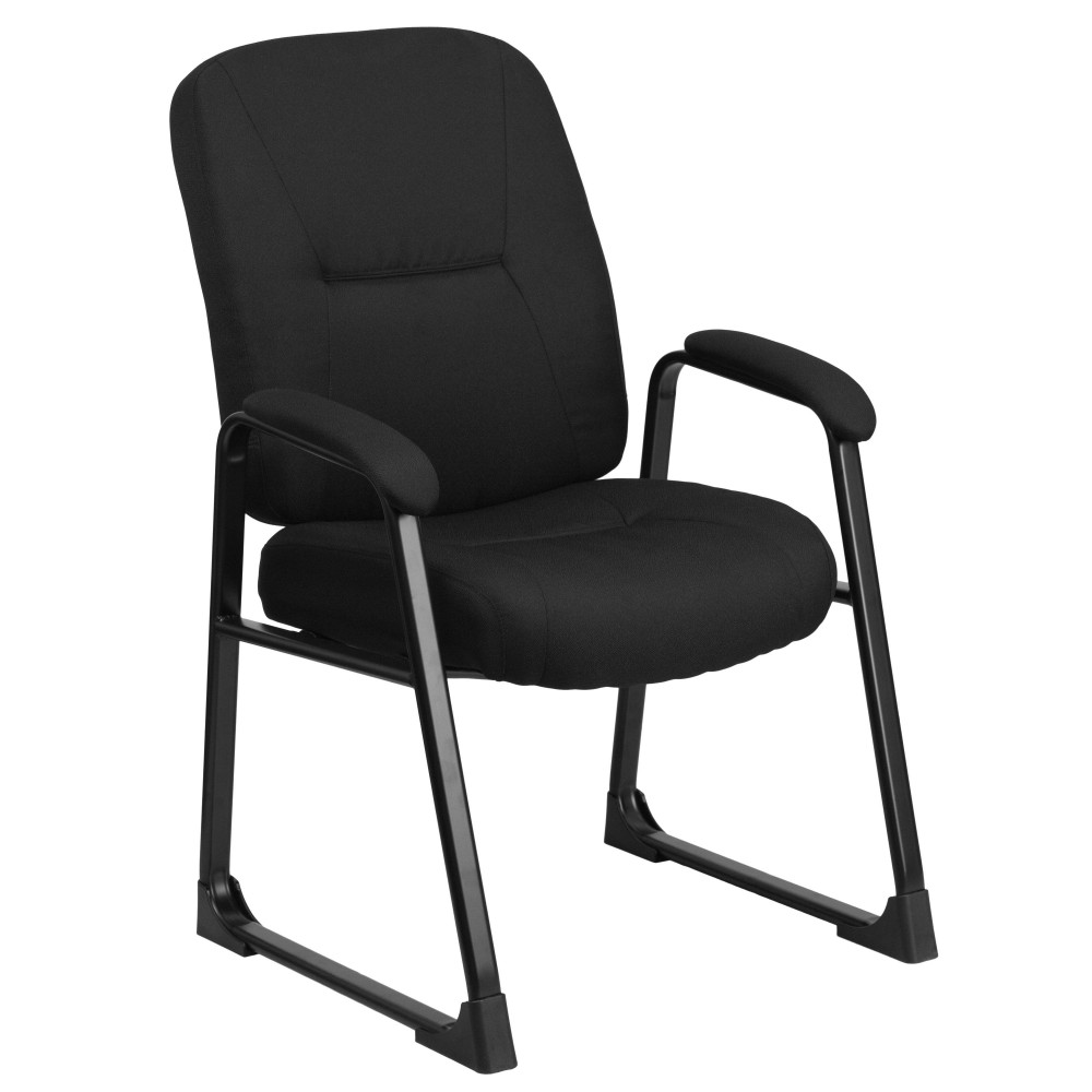HERCULES Series Big & Tall 400 lb. Capacity Black Fabric Executive Side Chair with Sled Base
