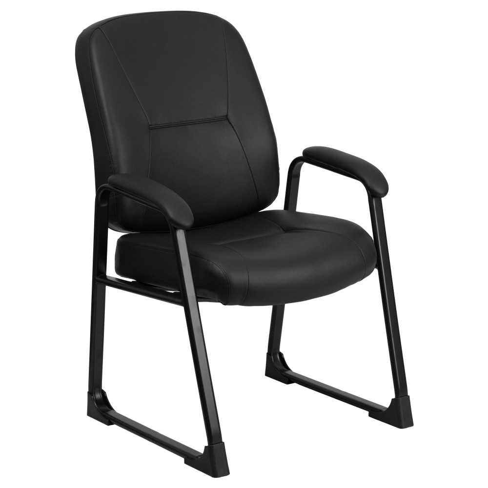 Flash Furniture WL-738AV-LEA-GG HERCULES Series Big & Tall 400 Lb. Capacity Black Leather Executive Side Chair with Sled Base