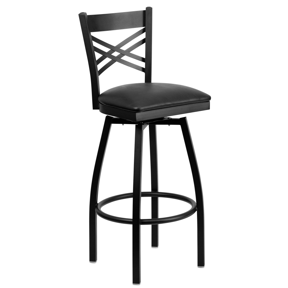 HERCULES Series Black ''X'' Back Swivel Metal Bar Stool - Black Vinyl Seat