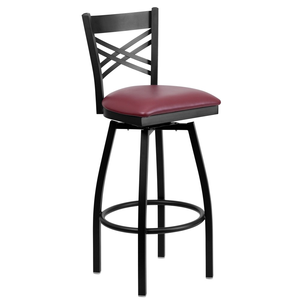 HERCULES Series Black ''X'' Back Swivel Metal Bar Stool - Burgundy Vinyl Seat