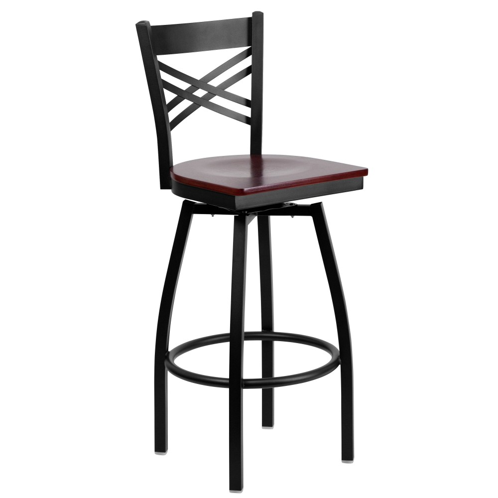 HERCULES Series Black ''X'' Back Swivel Metal Bar Stool - Mahogany Wood Seat