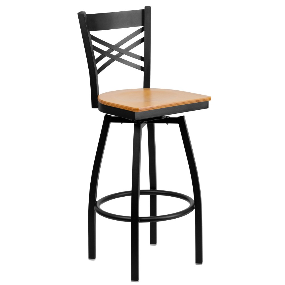 HERCULES Series Black ''X'' Back Swivel Metal Bar Stool - Natural Wood Seat