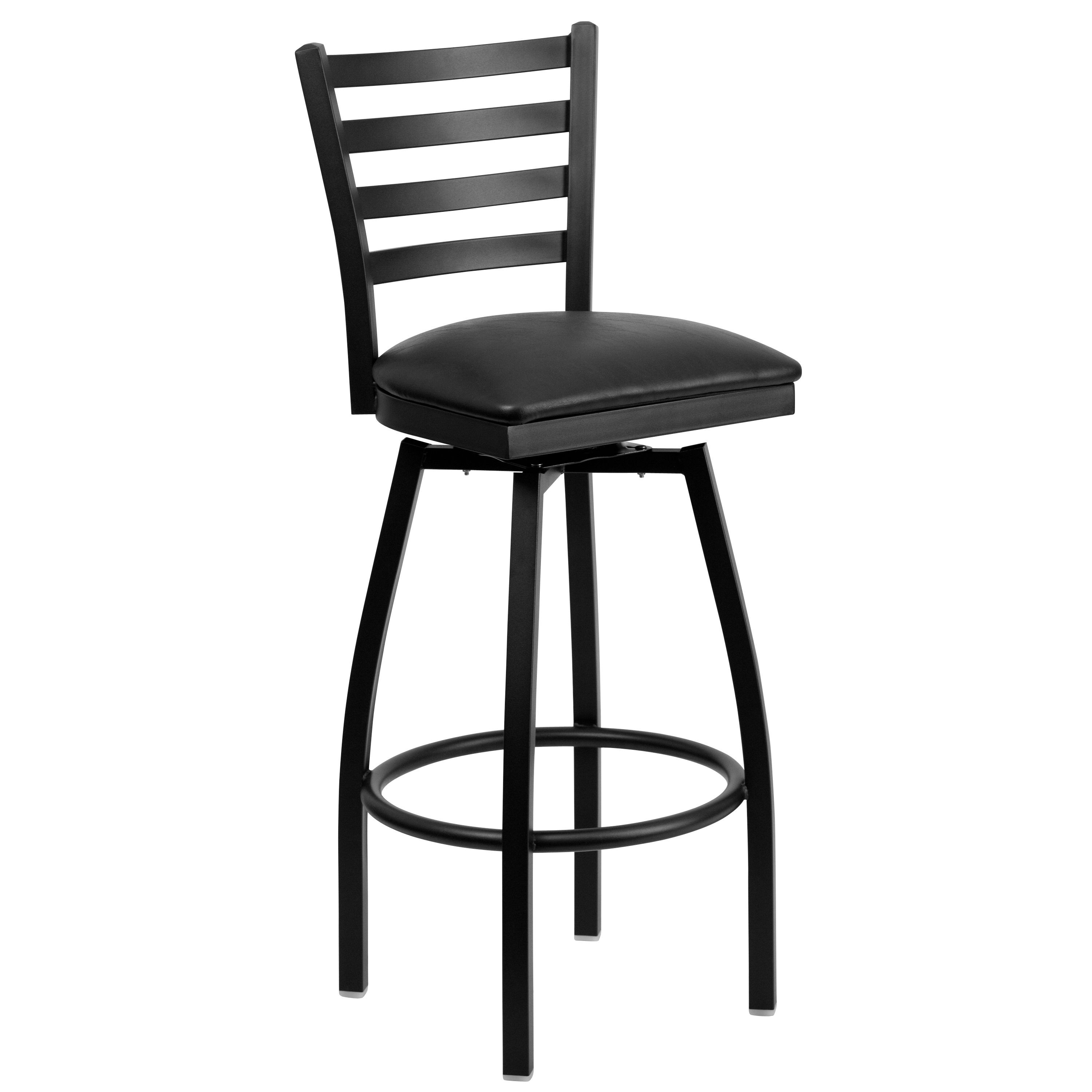 HERCULES Series Black Ladder Back Swivel Metal Bar Stool - Black Vinyl Seat