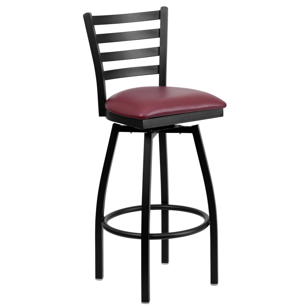 HERCULES Series Black Ladder Back Swivel Metal Bar Stool - Burgundy Vinyl Seat