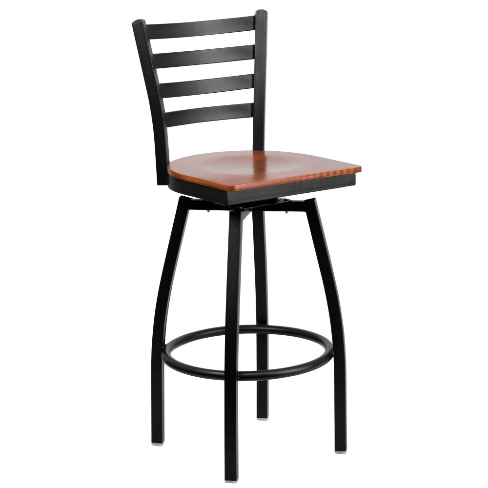 HERCULES Series Black Ladder Back Swivel Metal Bar Stool - Cherry Wood Seat