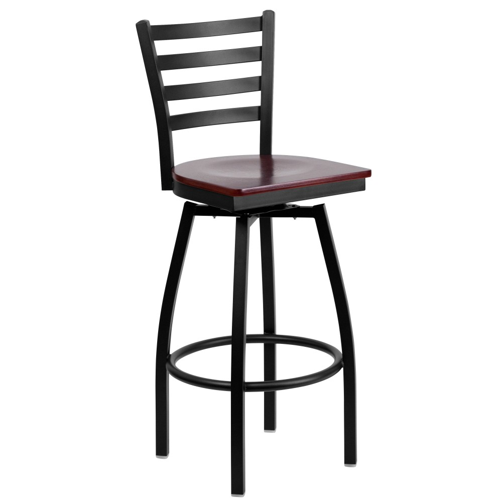 HERCULES Series Black Ladder Back Swivel Metal Bar Stool - Mahogany Wood Seat