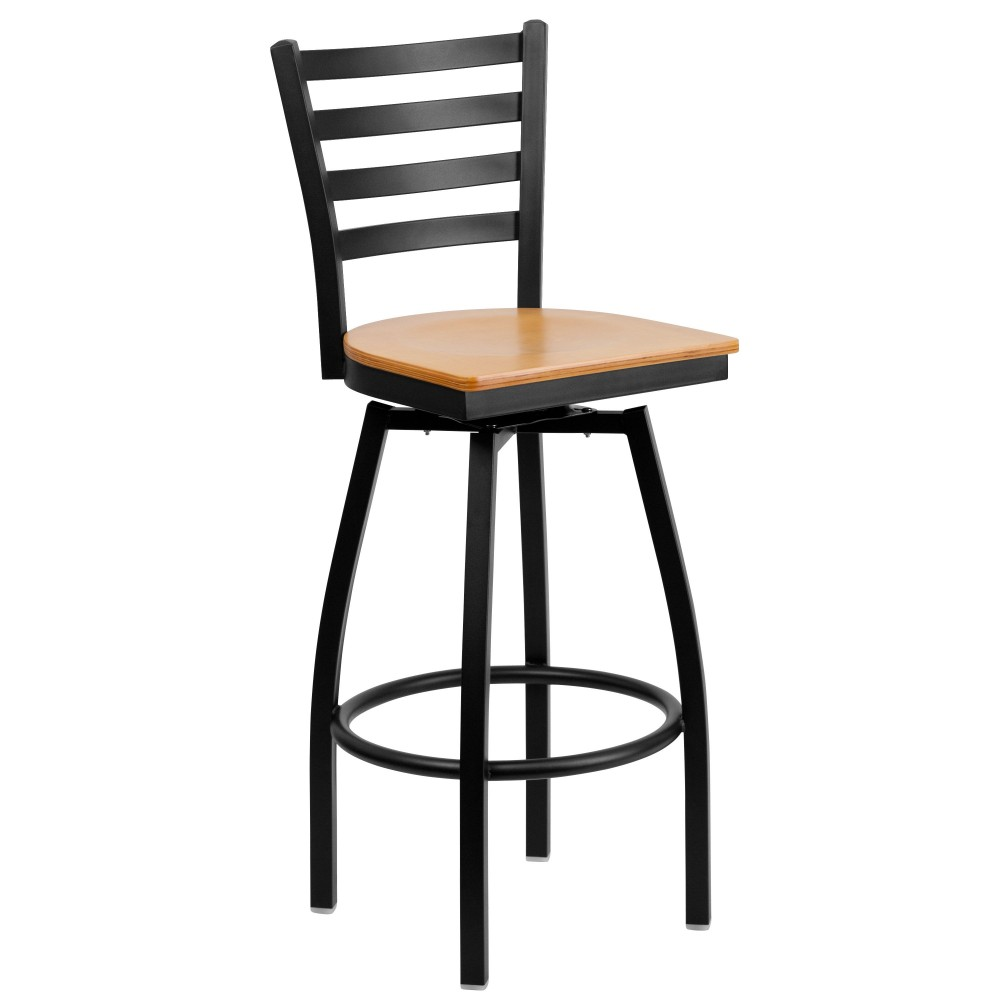 HERCULES Series Black Ladder Back Swivel Metal Bar Stool - Natural Wood Seat