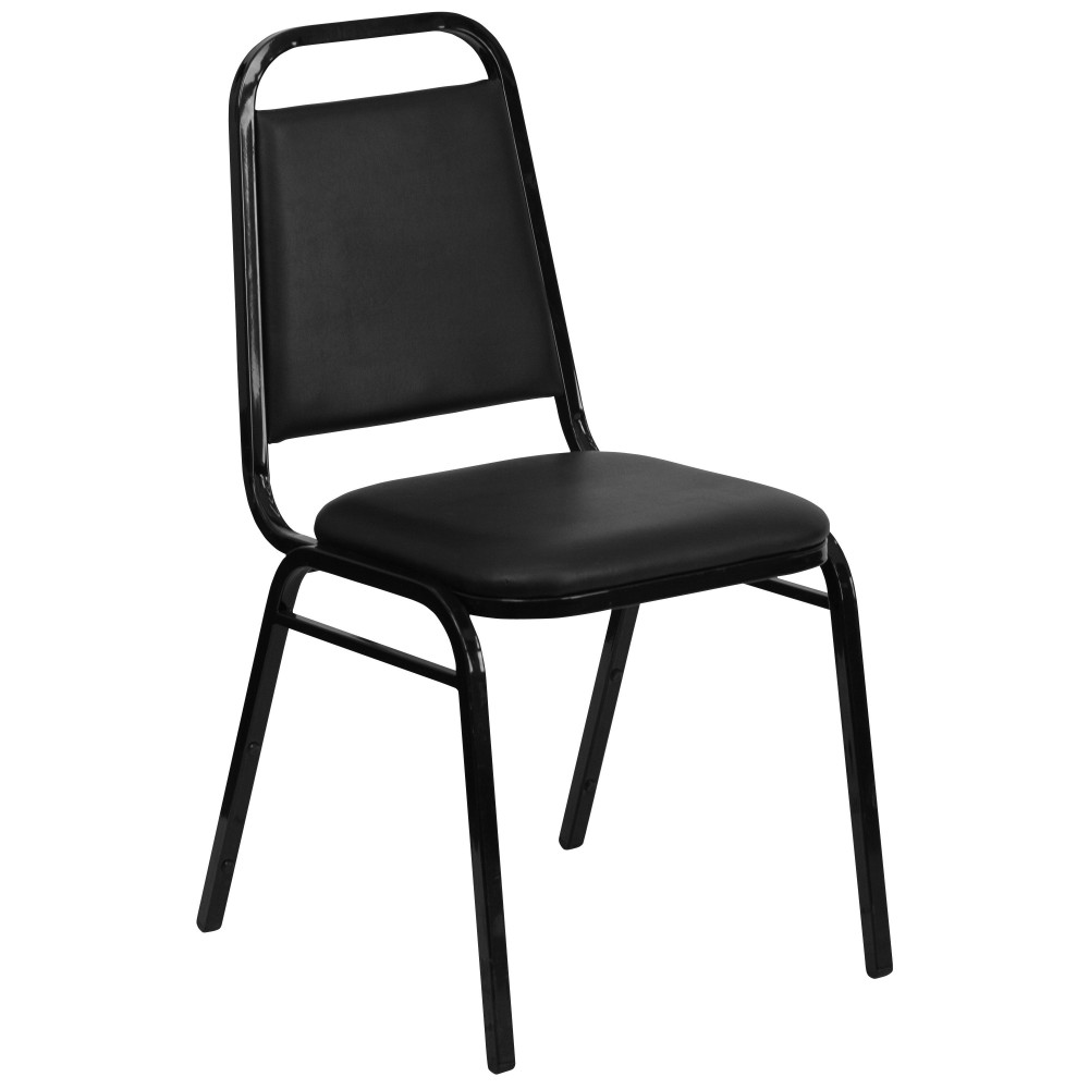 Flash Furniture FD-BHF-2-GG HERCULES Series Upholstered Stack Chair with Trapezoidal Back Padded Foam Seat Black Frame