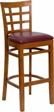 HERCULES Series Cherry Finished Window Back Wooden Restaurant Bar Stool with Burgundy Vinyl Seat
