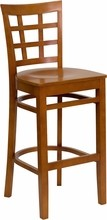 HERCULES Series Cherry Finished Window Back Wooden Restaurant Bar Stool