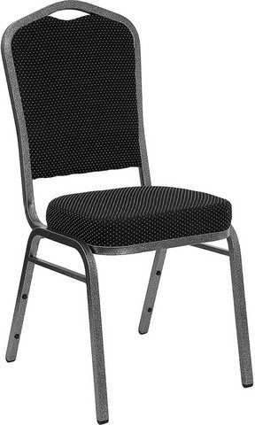 Flash Furniture FD-C01-SILVERVEIN-S076-GG HERCULES Series Crown Back Black Dot Pattern Stacking Banquet Chair with Silver Vein Frame