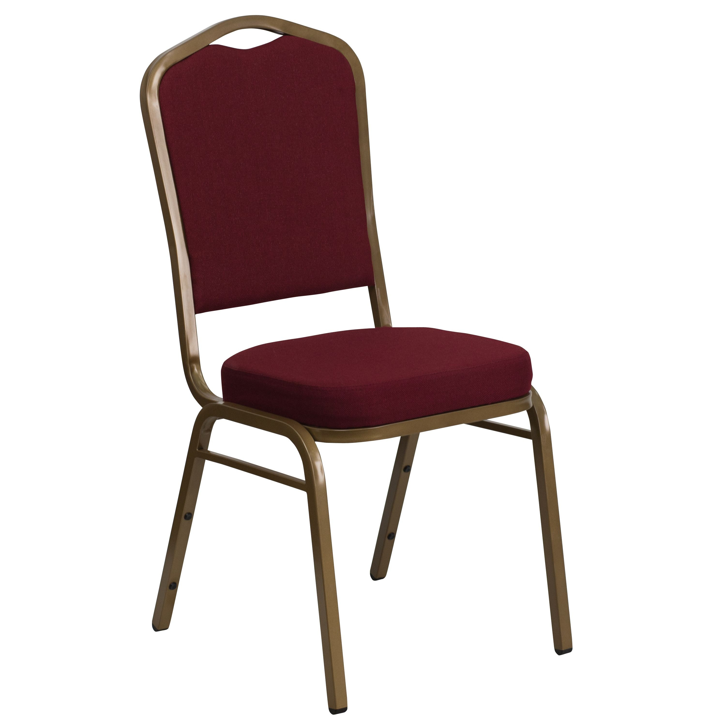 Flash Furniture FD-C01-ALLGOLD-3169-GG HERCULES Series Crown Back Burgundy Fabric Stacking Banquet Chair with Gold Frame
