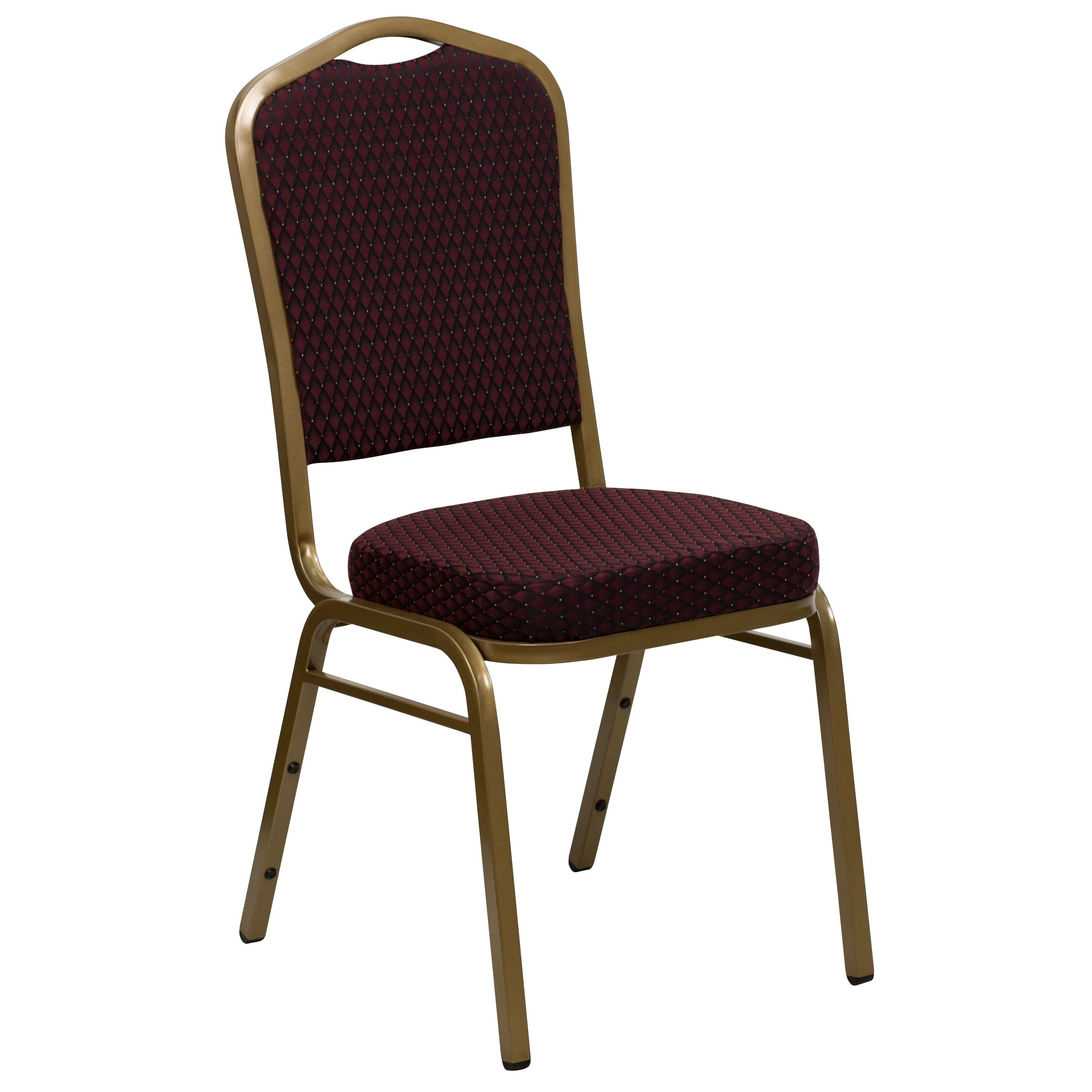 Flash Furniture FD-C01-ALLGOLD-EFE1679-GG HERCULES Series Crown Back Burgundy Pattern Fabric Stacking Banquet Chair with Gold Frame