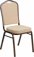 HERCULES Series Crown Back Stacking Banquet Chair with Beige Fabric and 2.5'' Thick Seat - Copper Vein Frame