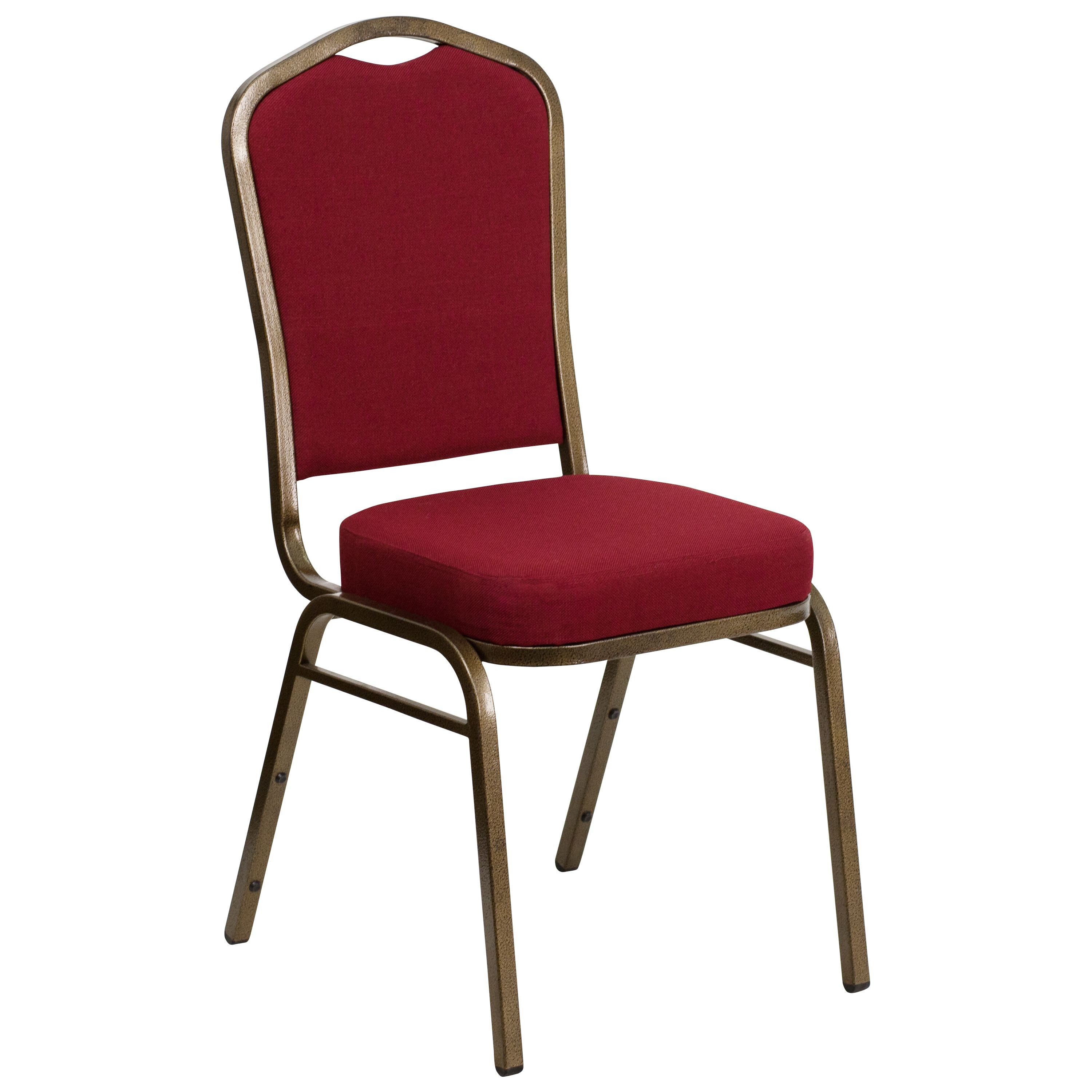 Flash Furniture FD-C01-GOLDVEIN-3169-GG HERCULES Series Crown Back Red Fabric Stacking Banquet Chair with Gold Vein Frame