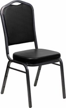 Flash Furniture FD-C01-SILVERVEIN-BK-VY-GG HERCULES Series Crown Back Black Vinyl Stacking Banquet Chair with Silver Vein Frame