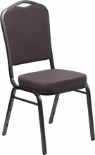 Flash Furniture FD-C01-SILVERVEIN-GY-GG HERCULES Series Crown Back Gray Fabric Stacking Banquet Chair with Silver Vein Frame