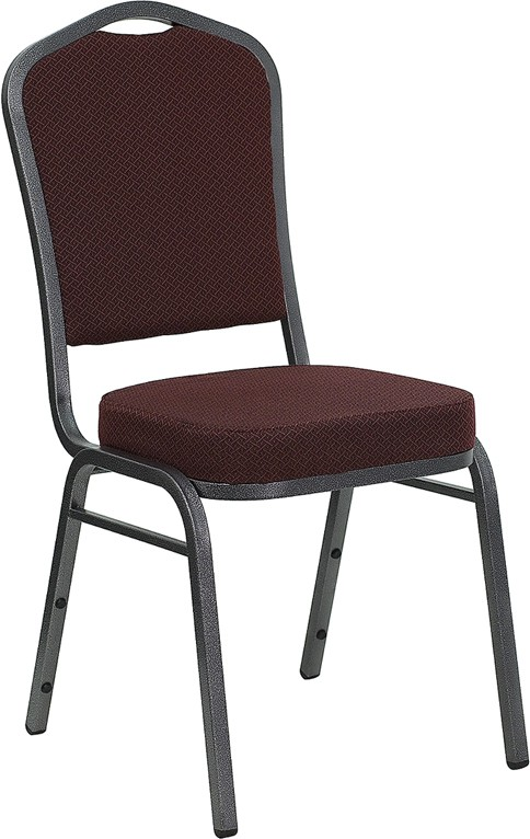 Banquet Chair with Dark Burgundy Patterned Fabric and 2.5'' Thick Seat - Silver Vein Frame