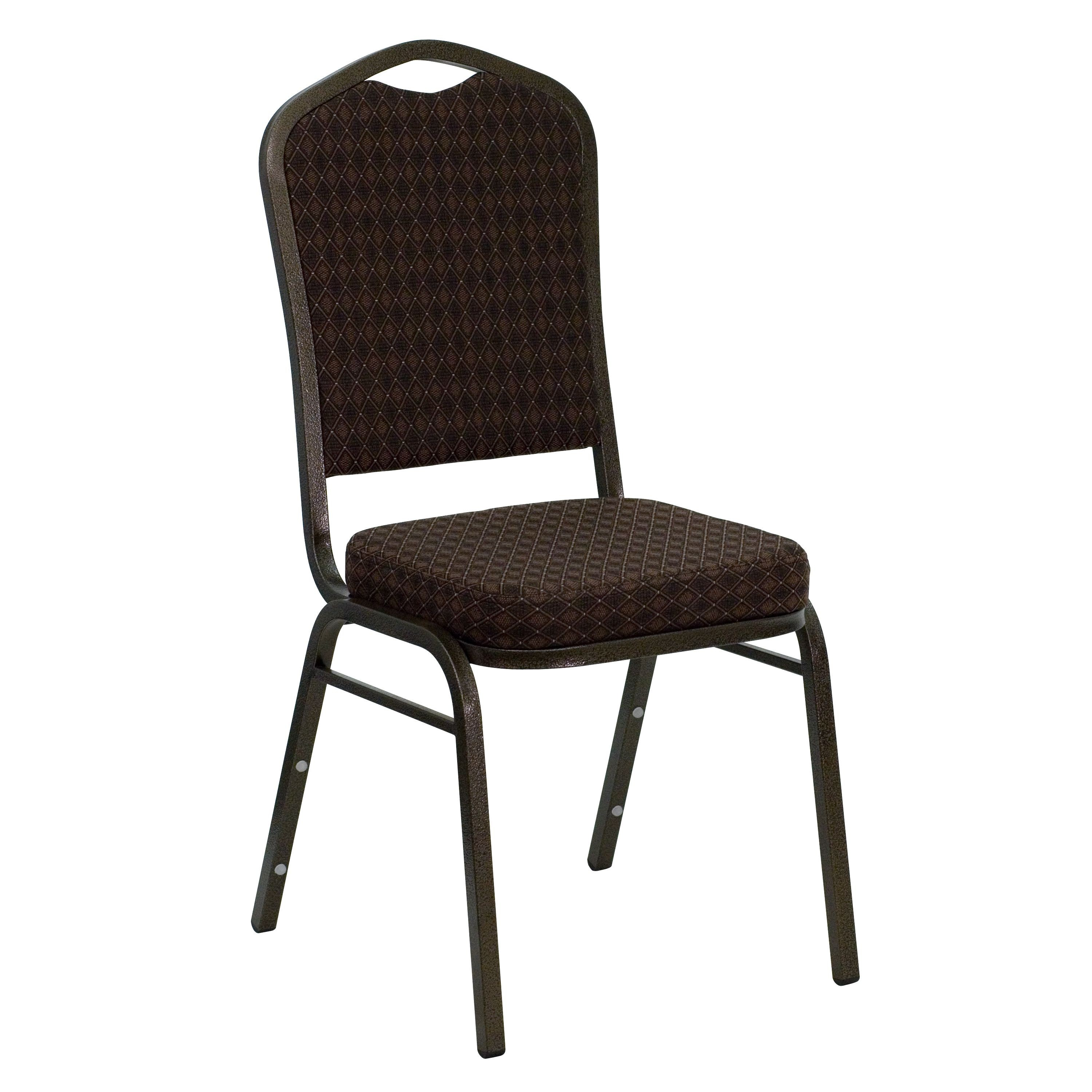 Flash Furniture NG-C01-BROWN-GV-GG HERCULES Series Crown Back Brown Patterned Fabric Stacking Banquet Chair with Gold Vein Frame