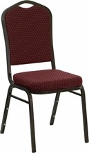 HERCULES Series Crown Back Stacking Banquet Chair with Burgundy Patterned Fabric and 2.5'' Thick Seat - Gold Vein Frame