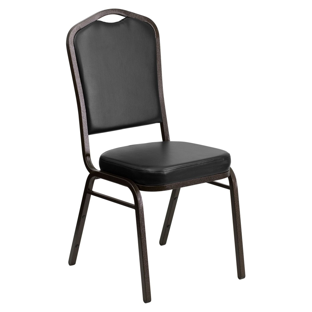 Flash Furniture FD-C01-Gold Vein-BK-VY-GG HERCULES Series Crown Back Stacking Banquet Chair with Black Vinyl/Gold Vein Frame