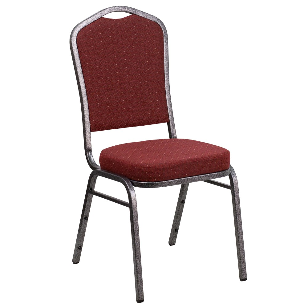 Flash Furniture NG-C01-HTS-2201-SV-GG Banquet Chair with Light Burgundy Patterned Fabric/Silver Vein Frame