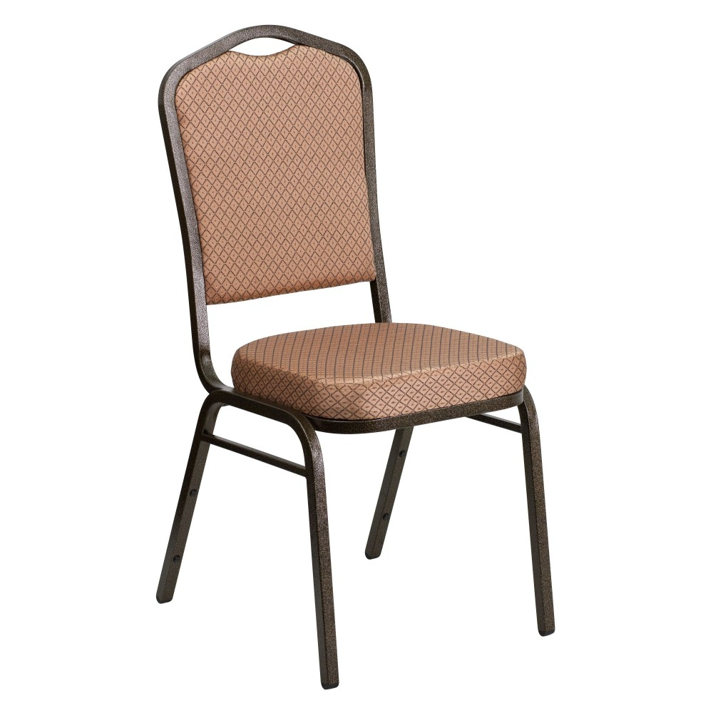 Flash Furniture FD-C01-Gold Vein-GO-GG HERCULES Series Crown Back Stacking Banquet Chair/Gold Diamond Patterned Fabric/Gold Vein Frame