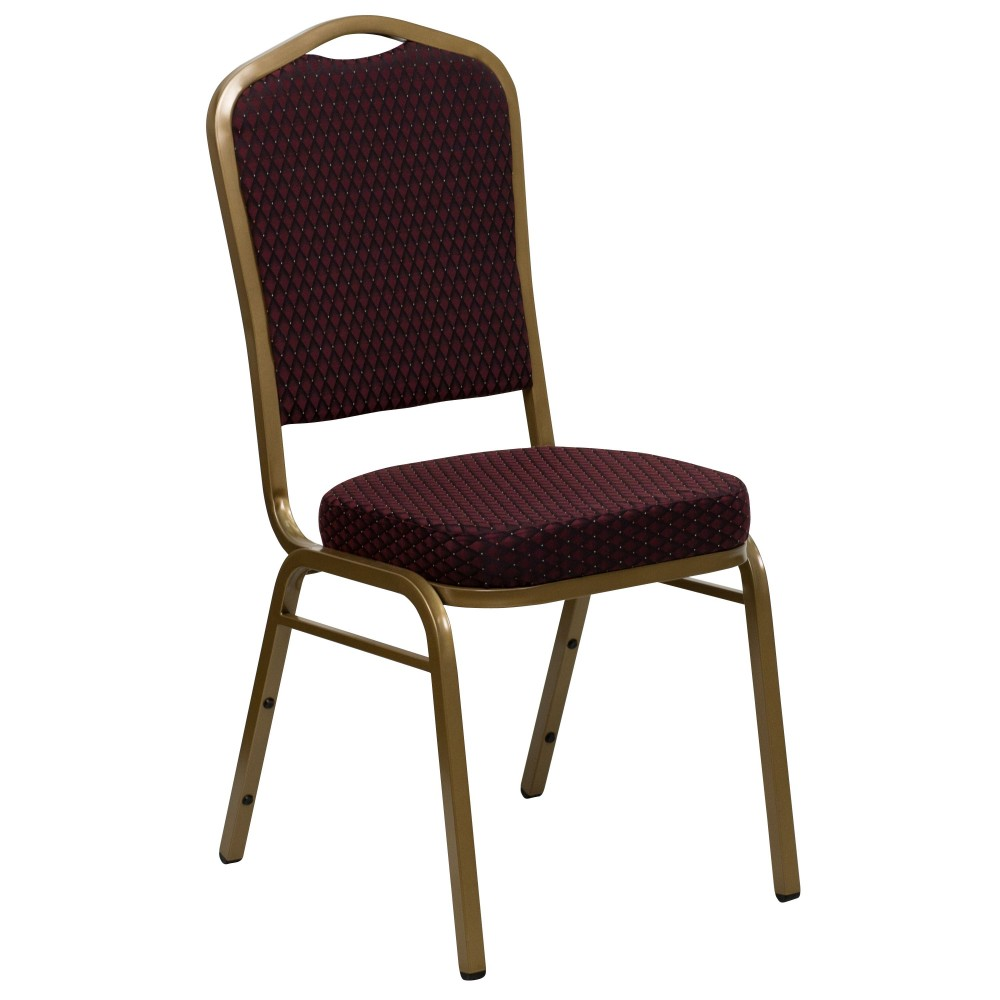 HERCULES Series Crown Burgundy  Patterned  Stacking Banquet Chair with Gold Frame