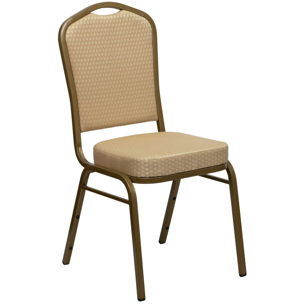 HERCULES Series Crown Beige Back Stacking Banquet Chair with Gold Frame