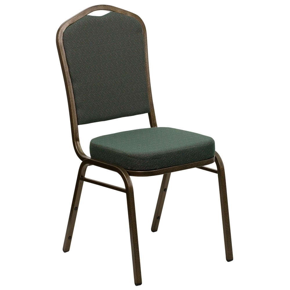 Flash Furniture fd-c01-Gold Vein-0640-gg HERCULES Series Crown Back Green Stacking Banquet Chair/Gold Vein Frame