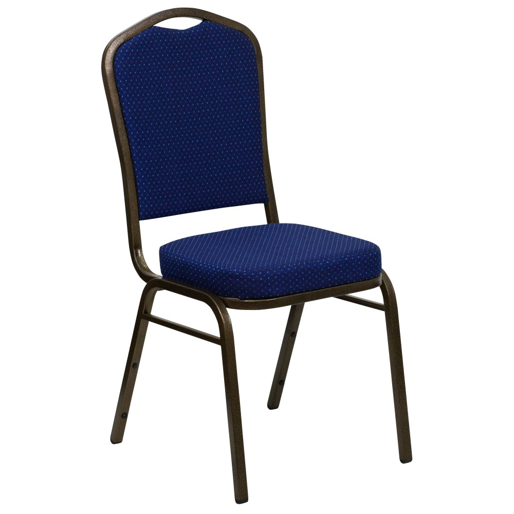 HERCULES Series Crown Back Blue Pattern Stacking Banquet Chair with Gold Vein Frame
