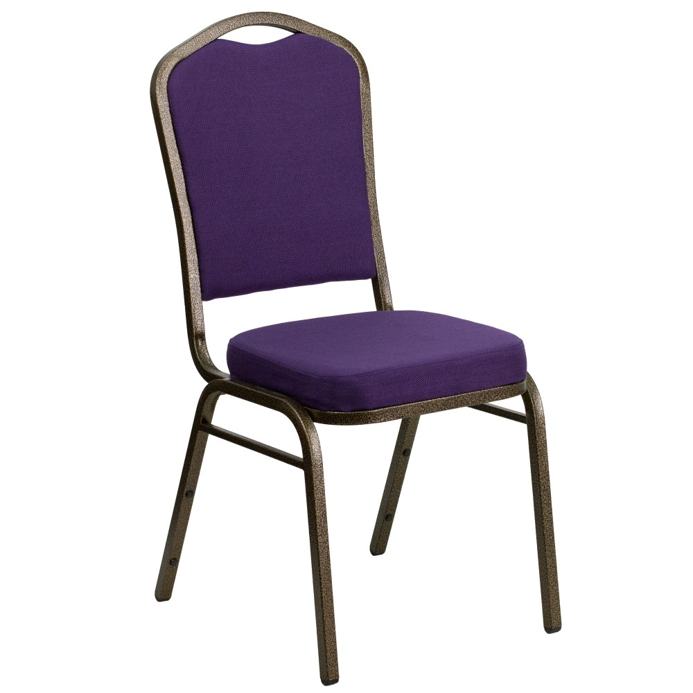 Flash Furniture FD-C01-PUR-GV-GG HERCULES Series Crown Back Stacking Banquet Chair with Purple Fabric/Gold Vein Frame
