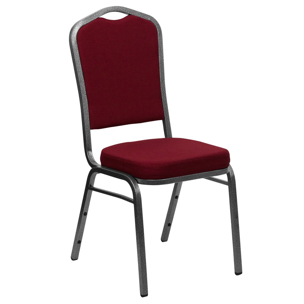 HERCULES Series Crown Back Stacking Banquet Chair with Silver Vein Frame