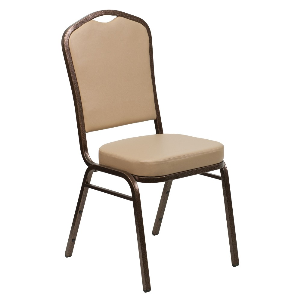 Flash Furniture FD-C01-COPPER-TN-VY-GG HERCULES Series Crown Back Stacking Banquet Chair with Tan Vinyl/Copper Vein Frame