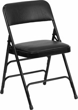 Flash Furniture HA-MC309AV-BK-GG HERCULES Series Curved Triple Braced and Double Hinged Black Vinyl Metal Folding Chair