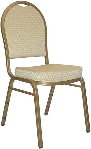 HERCULES Series Dome Back Gold Stacking Banquet Chair with Gold Frame